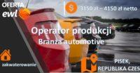 Od zaraz praca w Czechach bez języka na produkcji w branży motoryzacyjnej, Pisek 2020